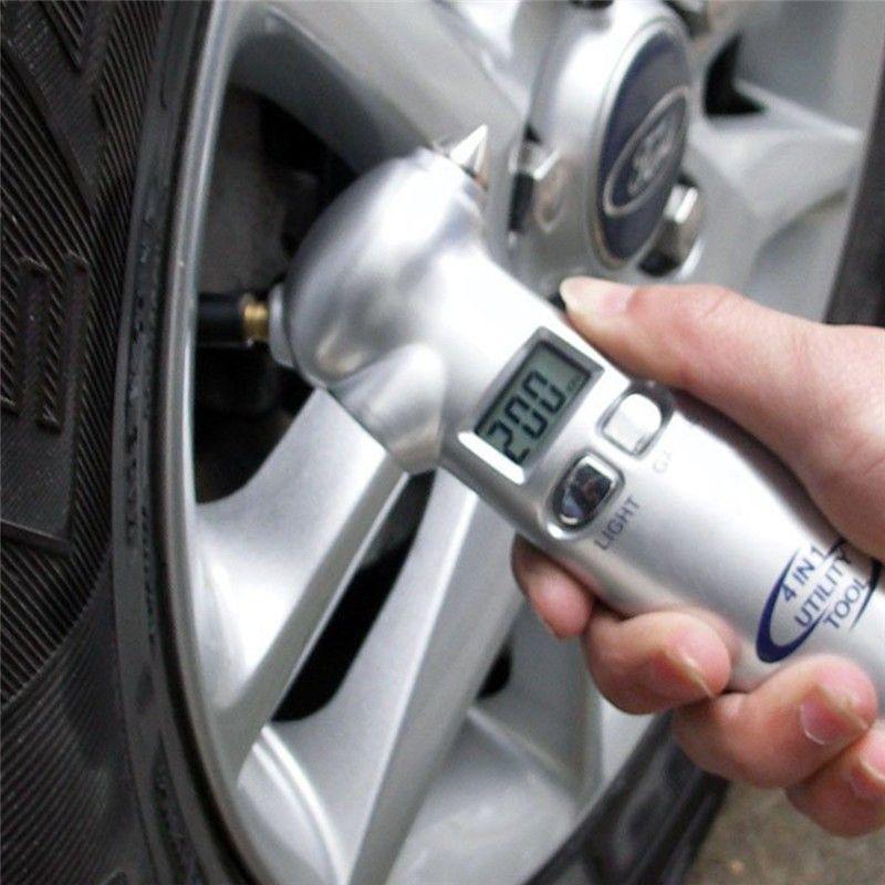 4 in 1 Car Essential Tool Digital LCD Car Auto Tire Gauge Tyre Meter Pressure Emergency Hammer <font><b>Seat</b></font> Belt Cutter Flashlight Torch