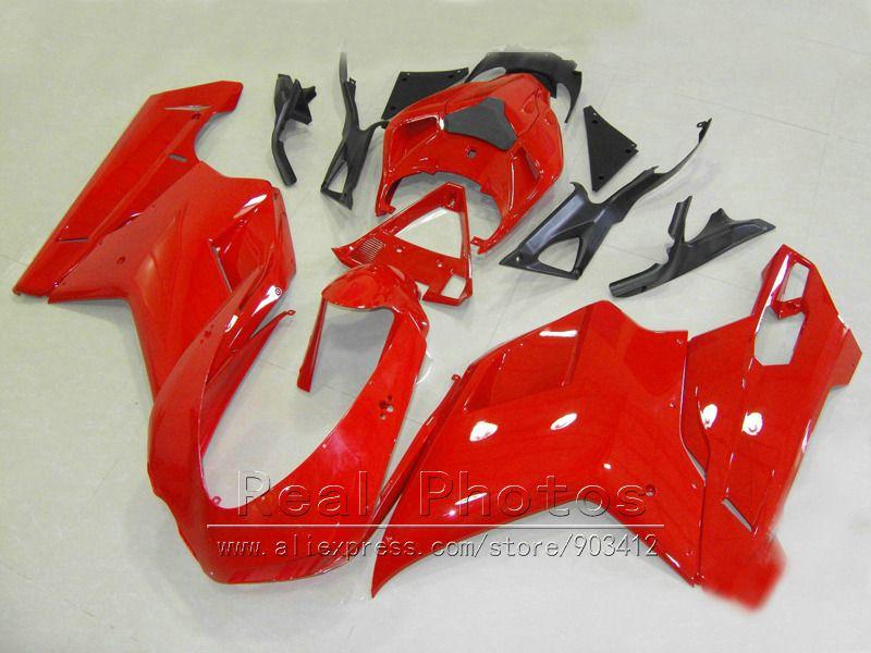 ABS plastic fairings for Ducati 848 1098 07 08 09 10 11 red black bodywork fairing kit 848 1198 2007-2011 DY74