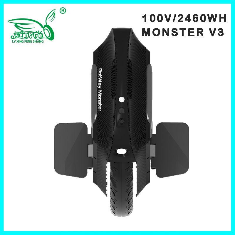2019 Gotway Monster v3 100V 1845WH/2460WH Elektrische einrad Monowheel 2500W Carbon schwarz Verkäufer upgrade