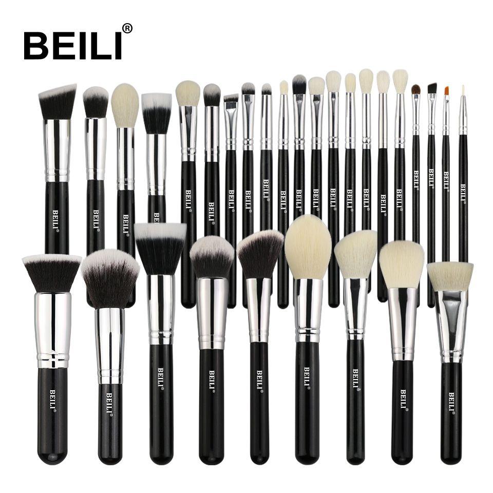 BEILI noir complet professionnel naturel cheveux de chèvre fond de teint poudre correcteur Contour yeux mélange 30 pièces maquillage pinceau ensemble