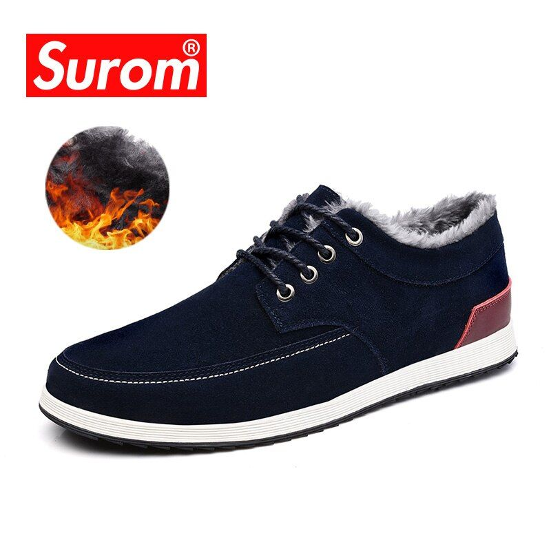 SUROM Men's Leather Casual Shoes Brand Autumn Winter New Fashion Sneakers Men Loafers Adult Moccasins Male Suede Shoes Krasovki