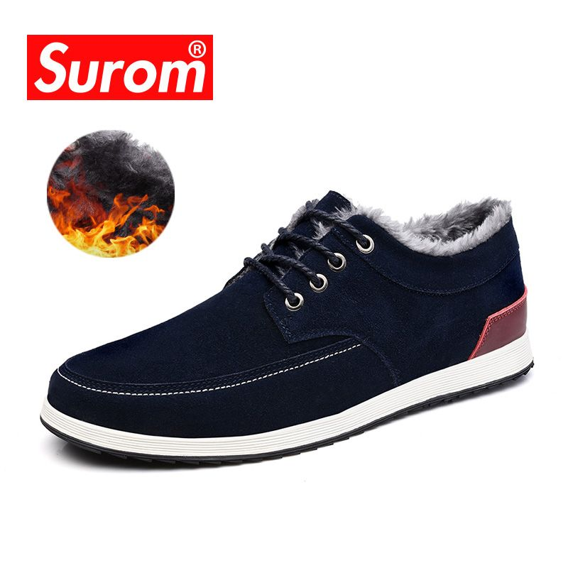 SUROM Men's Leather Casual Shoes Brand Autumn Winter New Fashion <font><b>Sneakers</b></font> Men Loafers Adult Moccasins Male Suede Shoes Krasovki