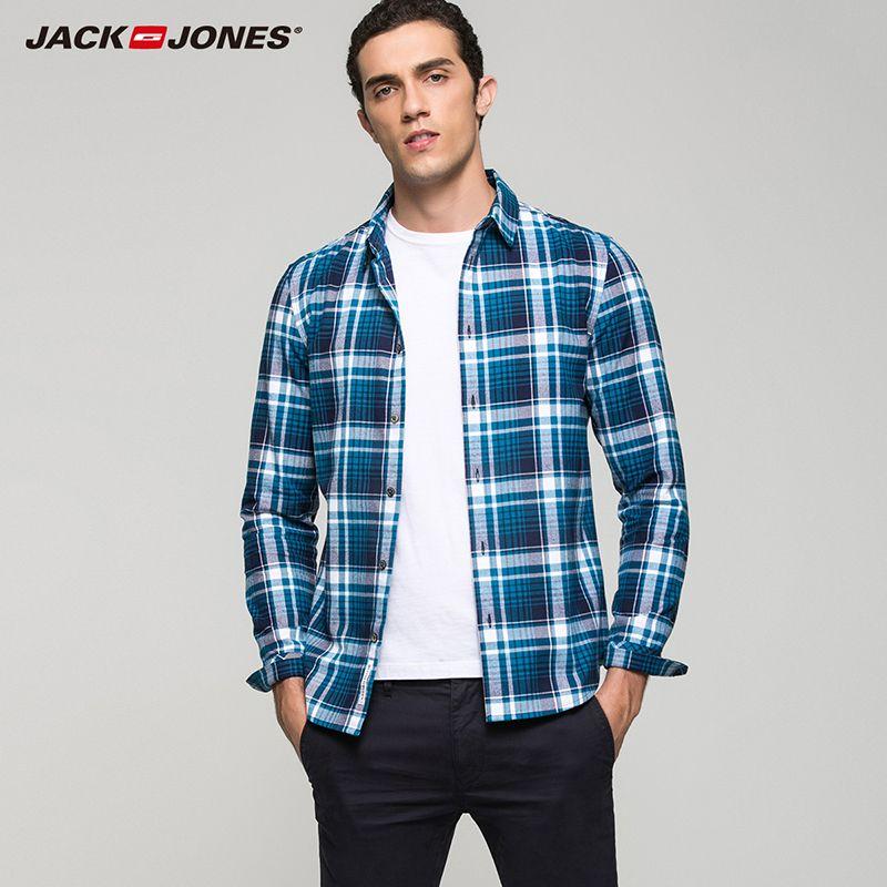 Jack Jones COTTON 100% fashion casual slim fit version multicolor plaid long sleeve top men shirts| 216405518