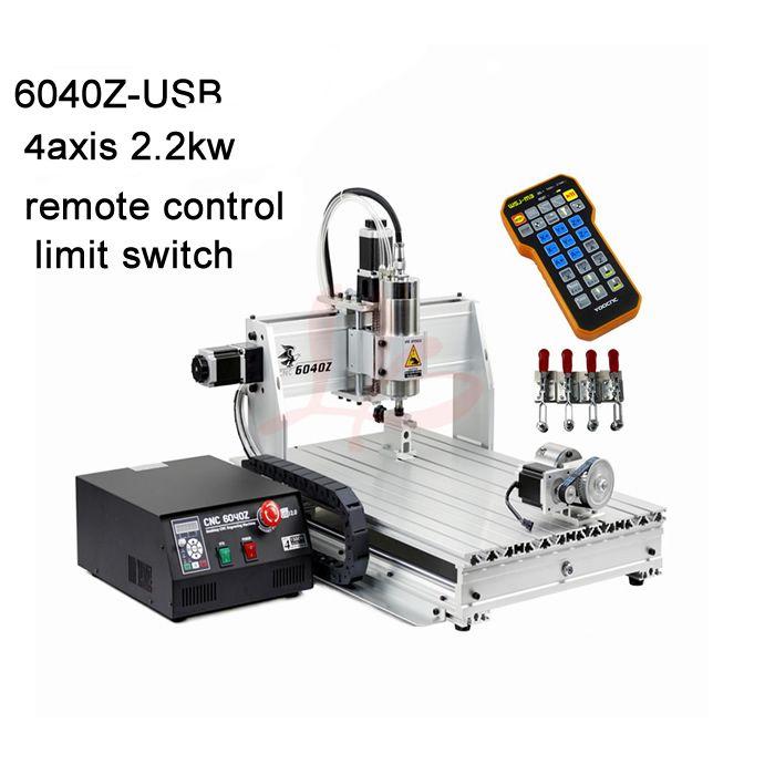 2.2KW VFD wasser kühlung spindel cnc maschine 6040 metall fräsen maschine USB port mit mit mach3 fernbedienung + grenze schalter