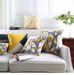 Jaune Géométrique Décoratif Coton Lin Housse de Coussin Gris Grille Imprimé Canapé Coussin De Voiture Chaise Décor À La Maison Taie d'oreiller