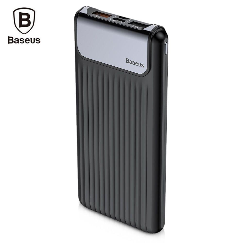 Baseus Tragbare Dünne Digitale 10000 mAh Energienbank QC 3,0 Dual USB Power Schlanken Externen Ladegerät