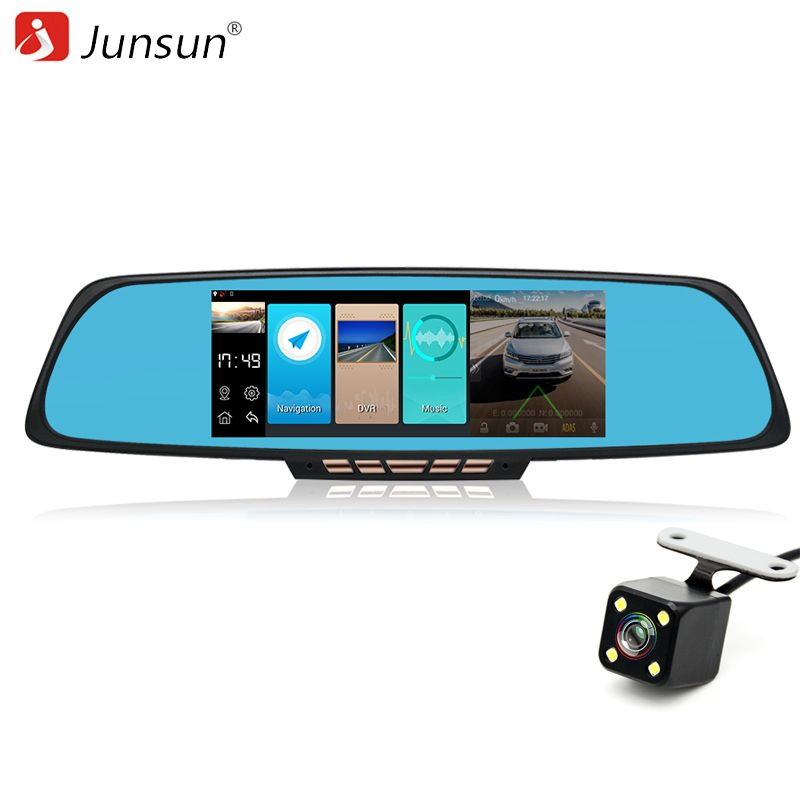 Junsun 6.86 inch ADAS Android Car GPS Navigation 16GB with DVR Camera Rearview Mirror Navigator Europe Russia map sat nav