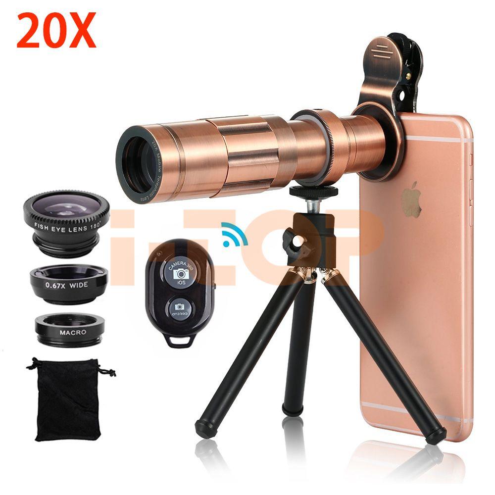 Universal Clips 20X Telephoto Telescope Zoom Lens For iPhone X 7 8 Plus Xiaomi Fisheye Macro Wide Angle Lenses Bluetooth Shutter