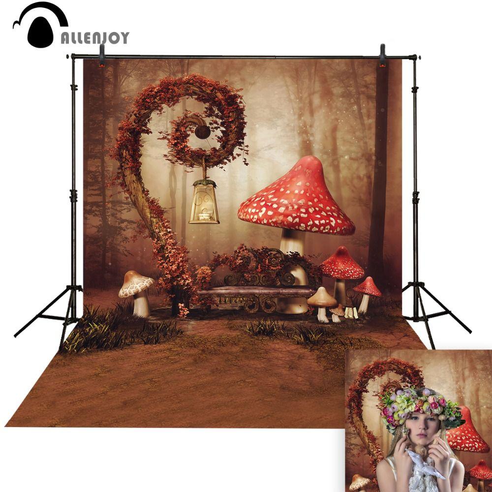 Allenjoy photo fond Rouge Champignon Fée Des Merveilles Mignon bébé photo stand Fond pour photo studio photographie fond