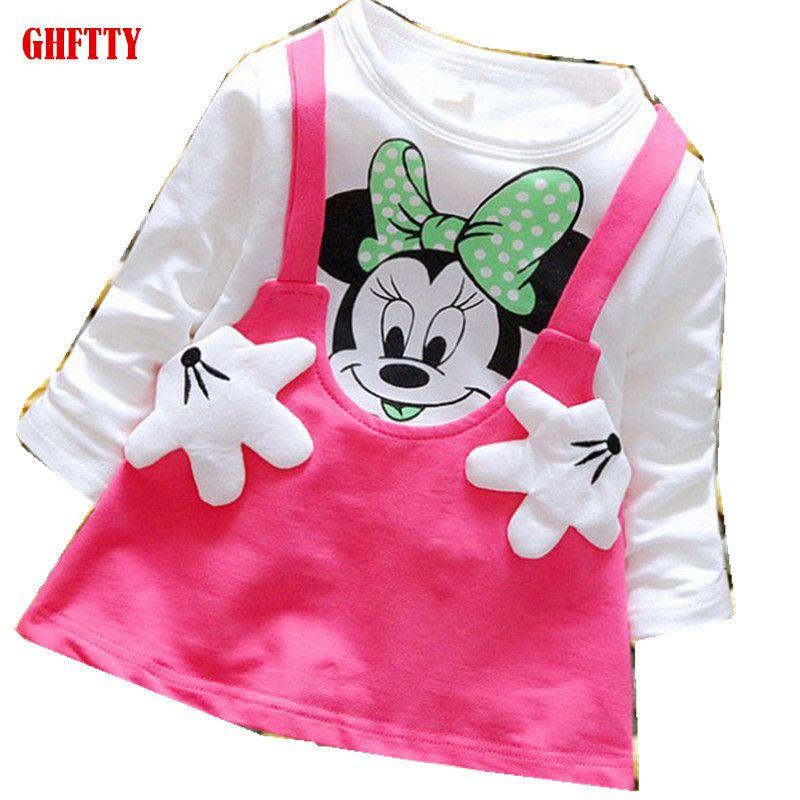 GHFTTY princesse filles robe enfants à manches longues dessin animé bébé fille coton robes de fête pour enfants 2019 nouvelle robe Minnie Mouse