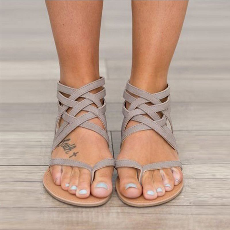 <font><b>Women</b></font> Sandals Fashion Gladiator Sandals For <font><b>Women</b></font> Summer Shoes Female Flat Sandals Rome Style Cross Tied Sandals Shoes <font><b>Women</b></font> 43