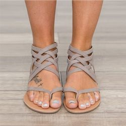 Femmes Sandales Mode Gladiateur Sandales Pour Femmes Chaussures D'été Femme Plat Sandales Rome Style Croix Liée Sandales Chaussures Femmes 43