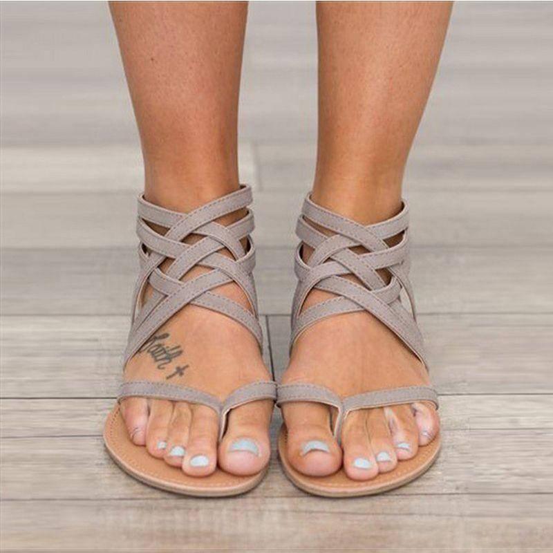 Women Sandals Fashion Gladiator Sandals For Women Summer Shoes <font><b>Female</b></font> Flat Sandals Rome Style Cross Tied Sandals Shoes Women 43