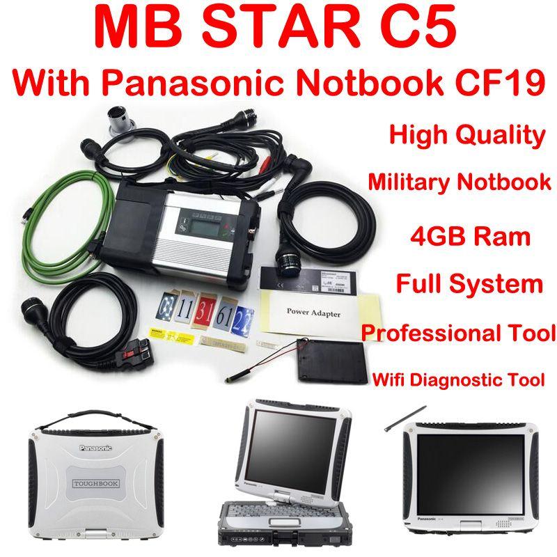 Top Qualität Neue generation Mb Star C5 stern diagnose + Panasonic CF19 Notebook MK3 2018-09 Vediamo 05,01 + DTS mb star diagnose c5