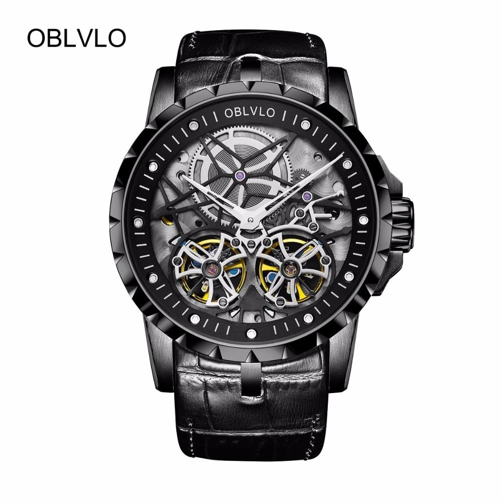 OBLVLO All Black Army Military Transparent Watches for Men Tourbillon Mechanical Watches Leather Relogio Masculino Clock OBL3606