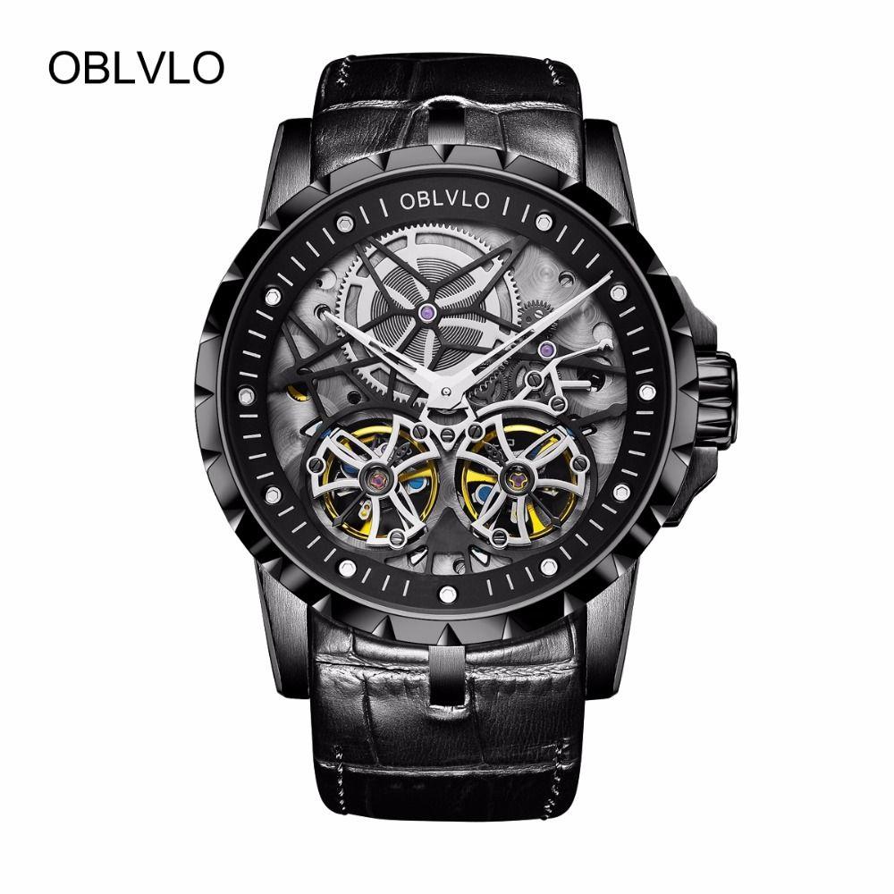 OBLVLO Alle Schwarz Army Military Transparent Uhren für Männer Tourbillon Mechanische Uhren Leder Relogio Masculino Uhr OBL3606