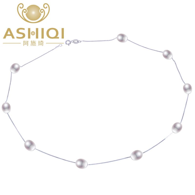 ASHIQI Real 925 sterling silver necklace 7-8mm Real Natural Freshwater pearl necklace White pearl Jewelry for Women Gifts