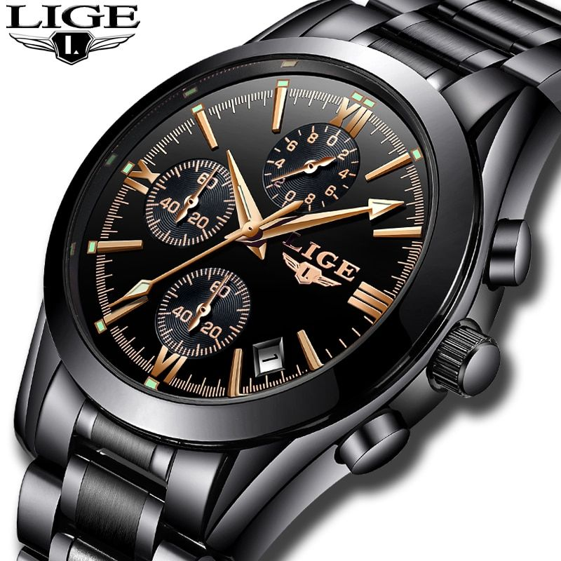 Relogio Masculion LIGE Men Top Luxury Brand Military Sport Watch Men's Quartz Clock Male Full Steel Casual Business black watch