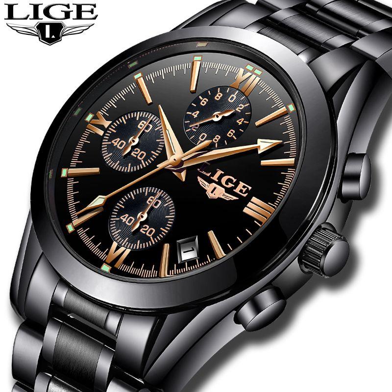 Relogio Masculion LIGE Men Top Luxury Brand Military Sport Watch Men's Quartz Clock Male Full Steel Casual Business black watch