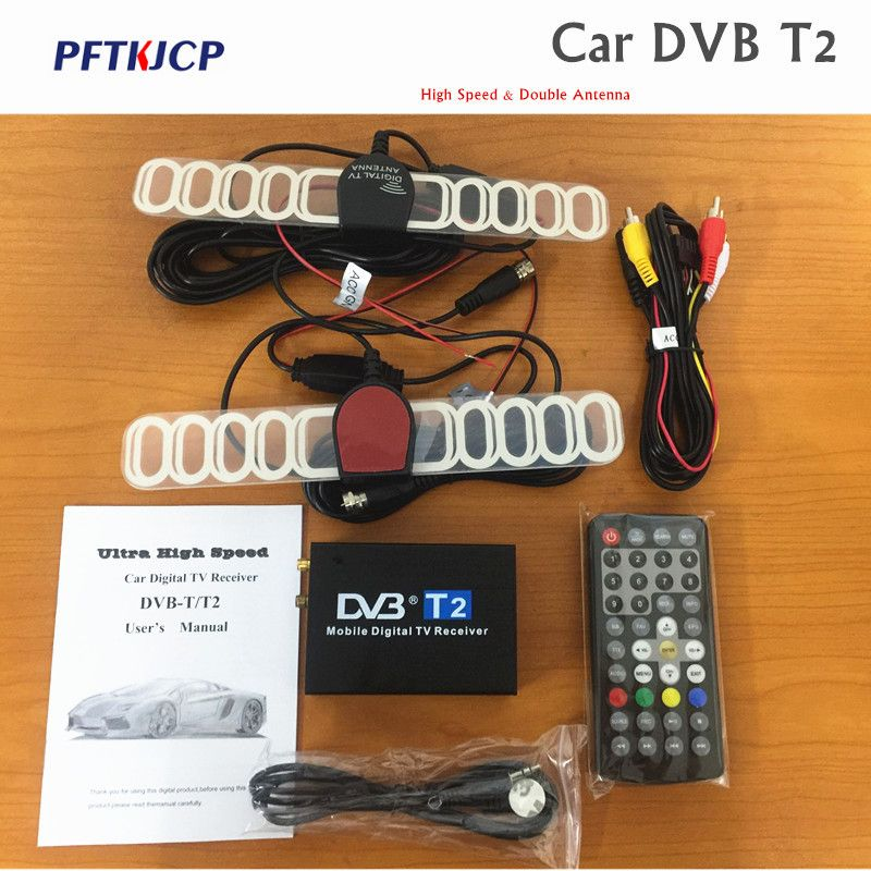 Digital Car TV Tuner DVB-T2 Box 120km/h dvbt2 tuners 2 antenna receiver External USB black digital dvb-t2 car dvd for DVB-T2