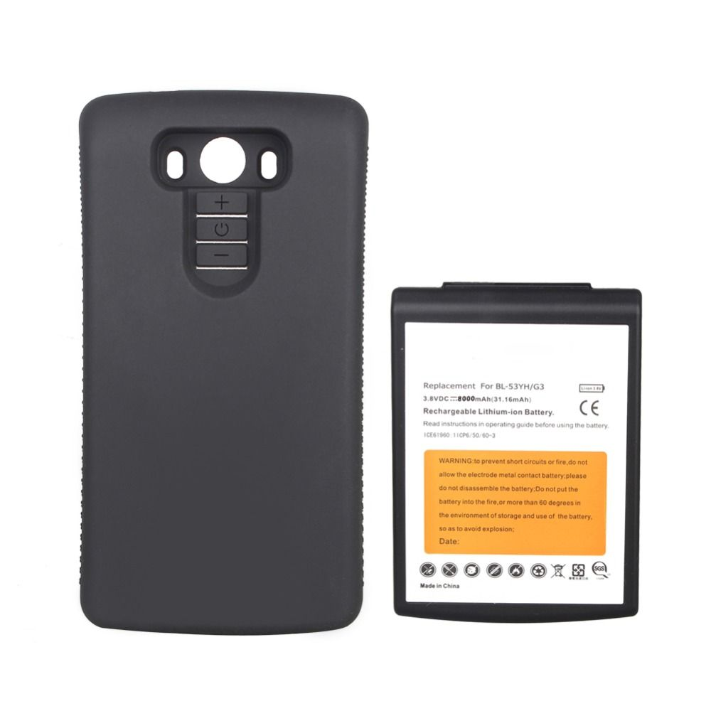 High Capacity 8000mAh Replacement Extended Battery For LG G3 BL-53YH Batteria With Black Protective Back Cover Case Brand New