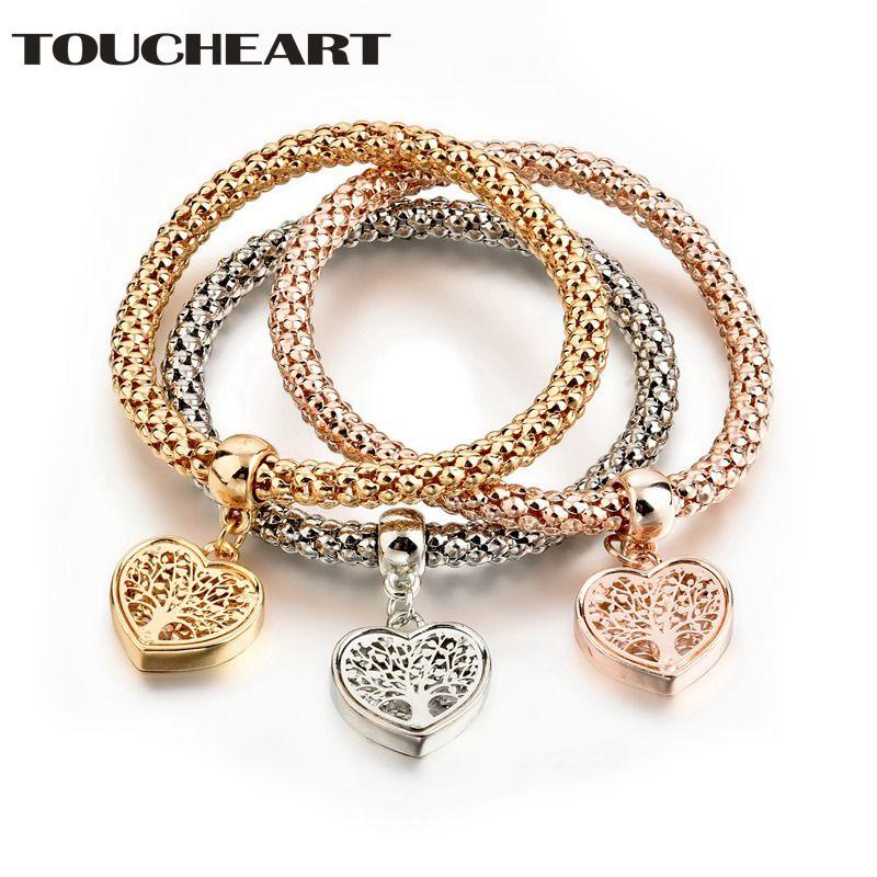 TOUCHEART NEW Dainty Jewelry Life Tree Heart Bracelet & Bangles Popcorn Chain Set Friendship Distance Bracelets Gift SBR170118