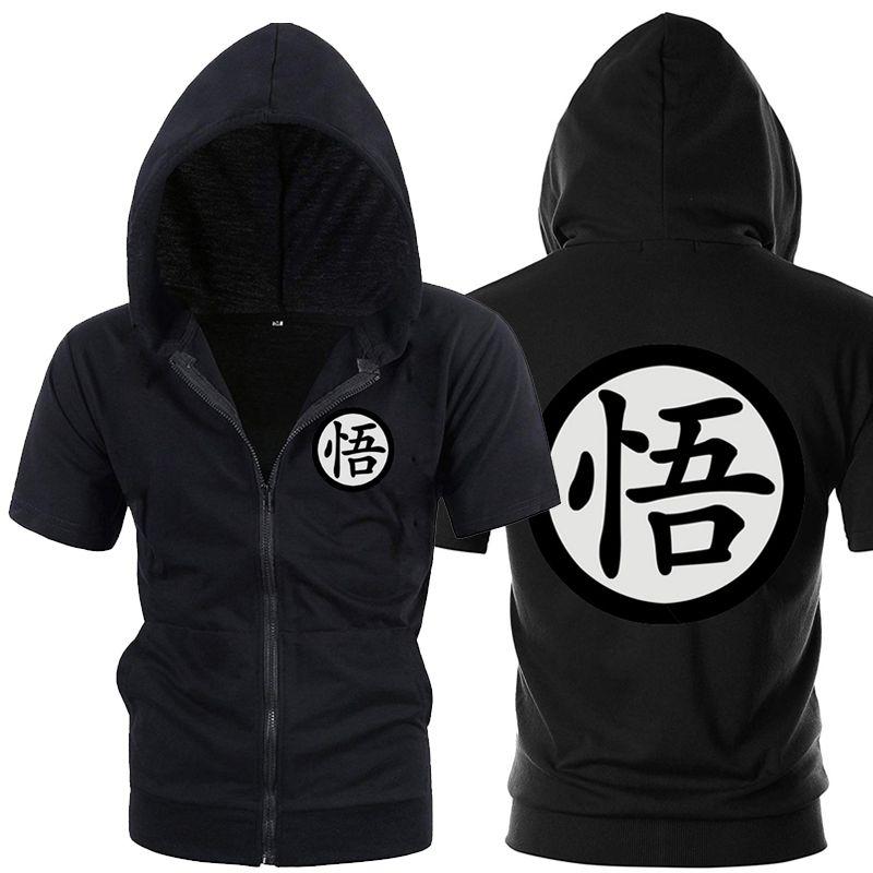 Casual Funny Print Dragon Ball Goku Hoodie Men Black Gray Cosplay Sweatshirt Fashion Short Sleeve Zipper Mens Hoodies Jackets