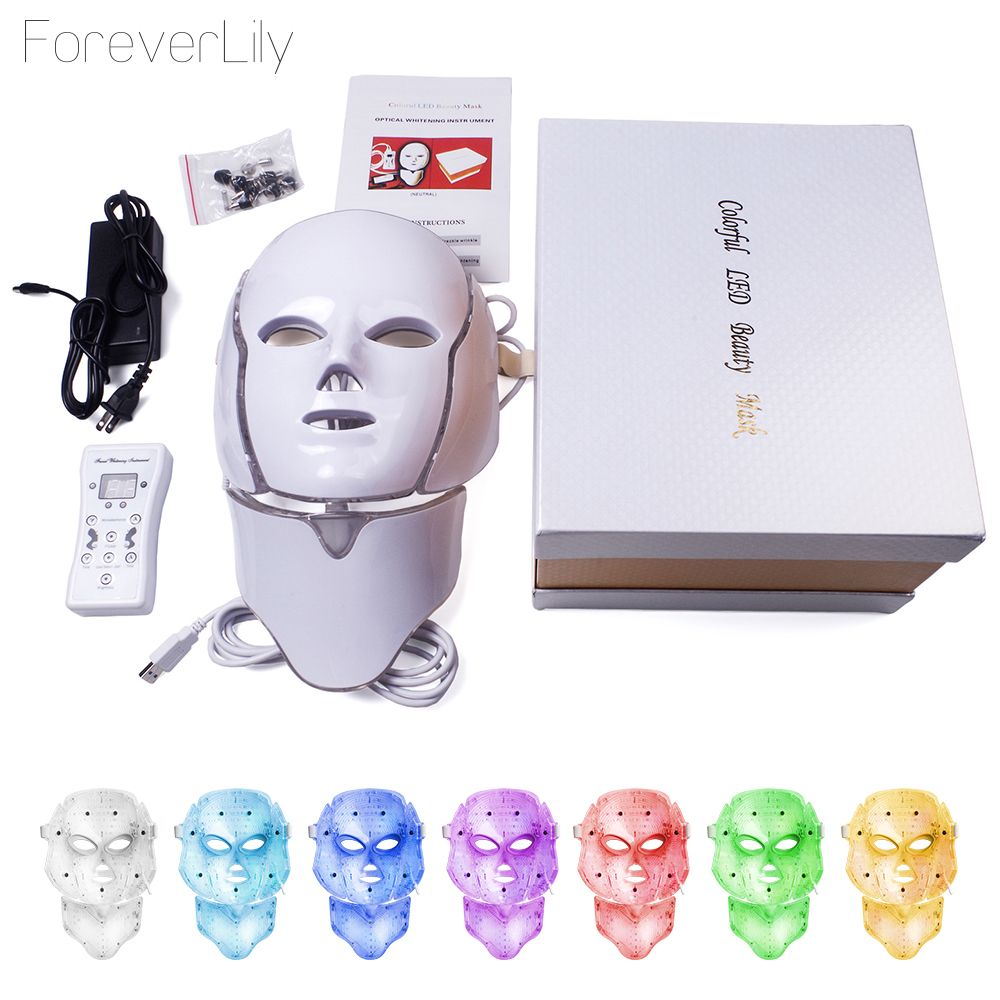 LED Mask For Face Neck EMS Micro-current Anti Wrinkle Acne Removal Skin Rejuvenation Electric Facial Beauty Machine