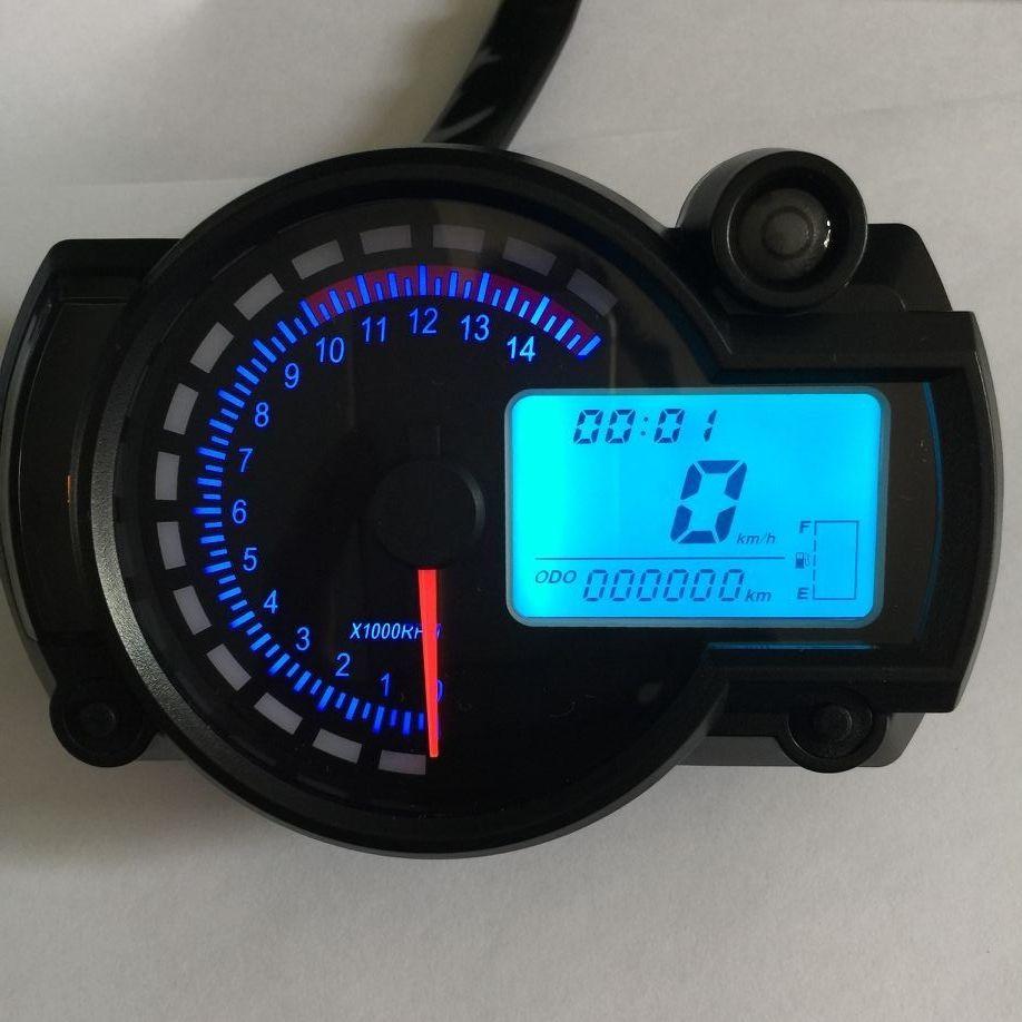 Motorcycle Digital Light LCD Speedometer Odometer Tachometer W/ Speed Sensor 7 color display oil level meter Modern Universal