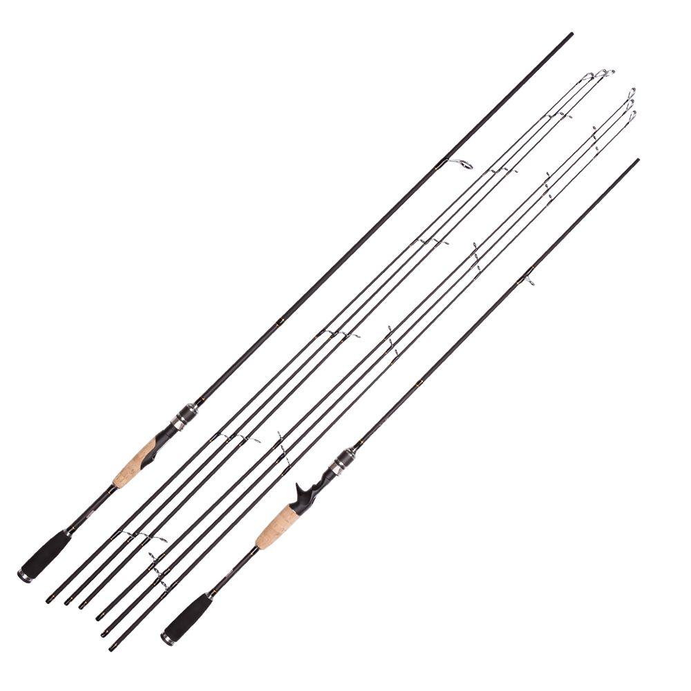 Spinning Rod 2.1 M 2.4 M Ultra-Léger Canne À Pêche En Carbone 3 Conseils ML M MH Casting Rod Rapide Leurre D'alimentation canne à Pêche Pôle 2 Sections