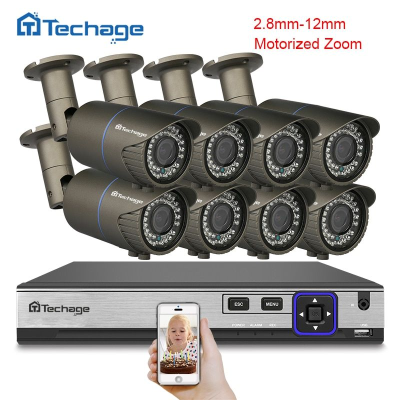 Techage H.265 8CH POE NVR 4MP CCTV System 2.8mm-12mm Motorized Auto Zoom Lens IP Camera Security Surveillance System APP View