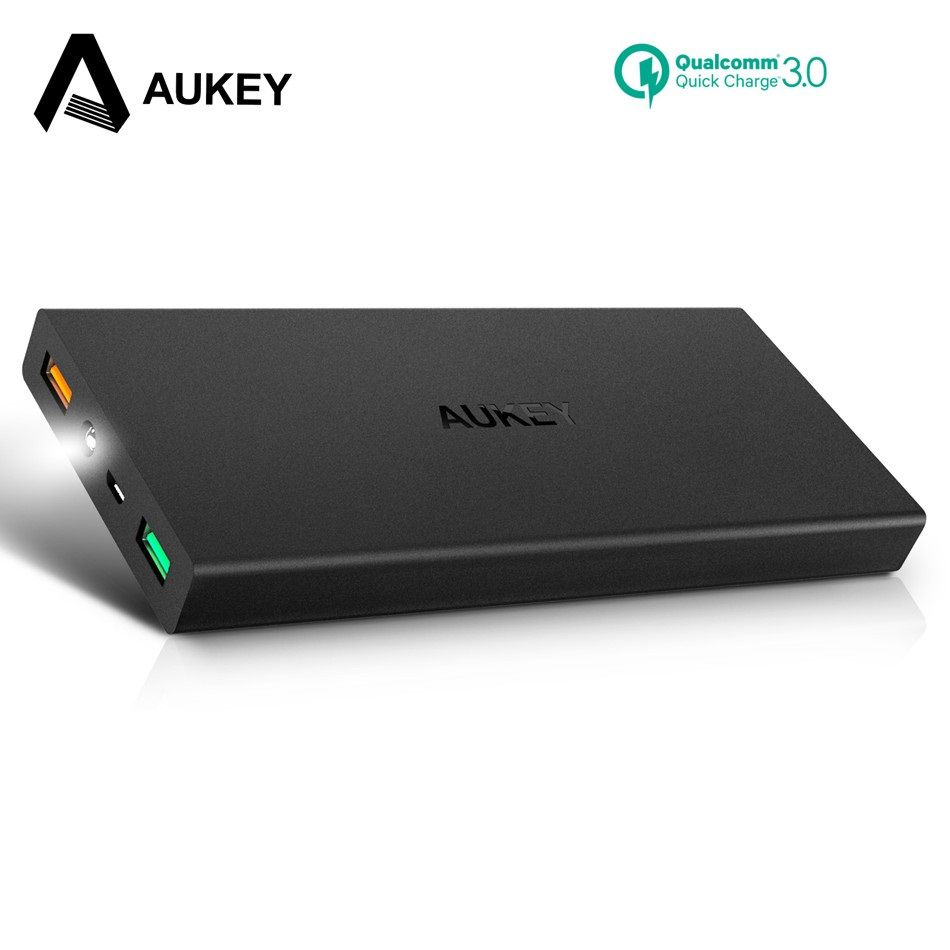 AUKEY 16000mAh Power Bank Quick Charge 3.0 Dual USB External Battery Portable Phone Powerbank for Xiaomi Samsung s8 Poverbank