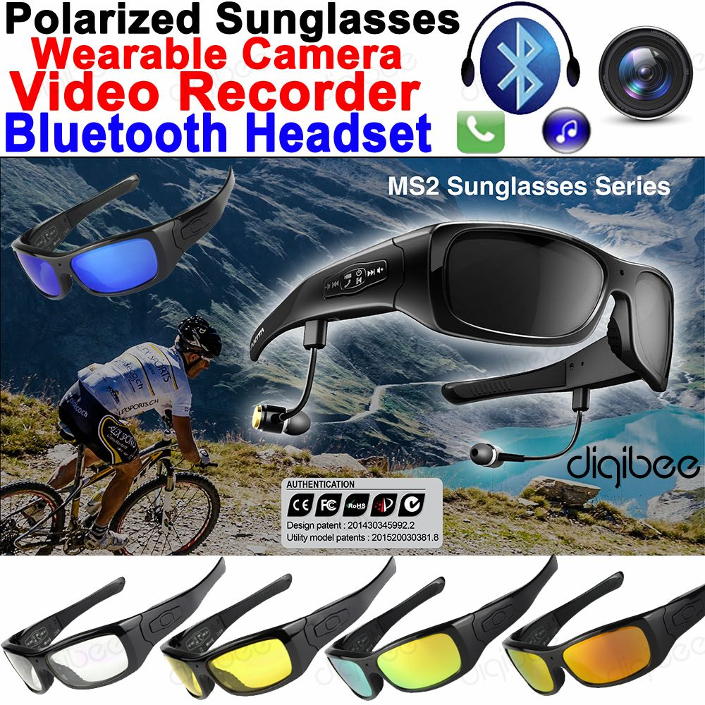 32GB Smart Glasses TR90 Frame Polarized Sunglasses Camera Bluetooth Headset Earphone with Mic HD 720P Mini Video Recorder OTG