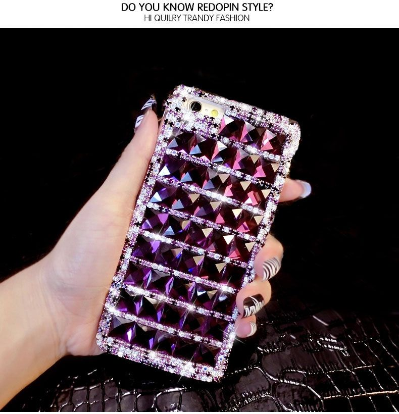 Dower Me Bling Purple Diamond Case For iPhone X 8 7 6 6S Plus 5 SE 5C 4S Samsung Galaxy Note 8 5 4 3 2 S8 S7 S6 Edge Plus S5/4/3