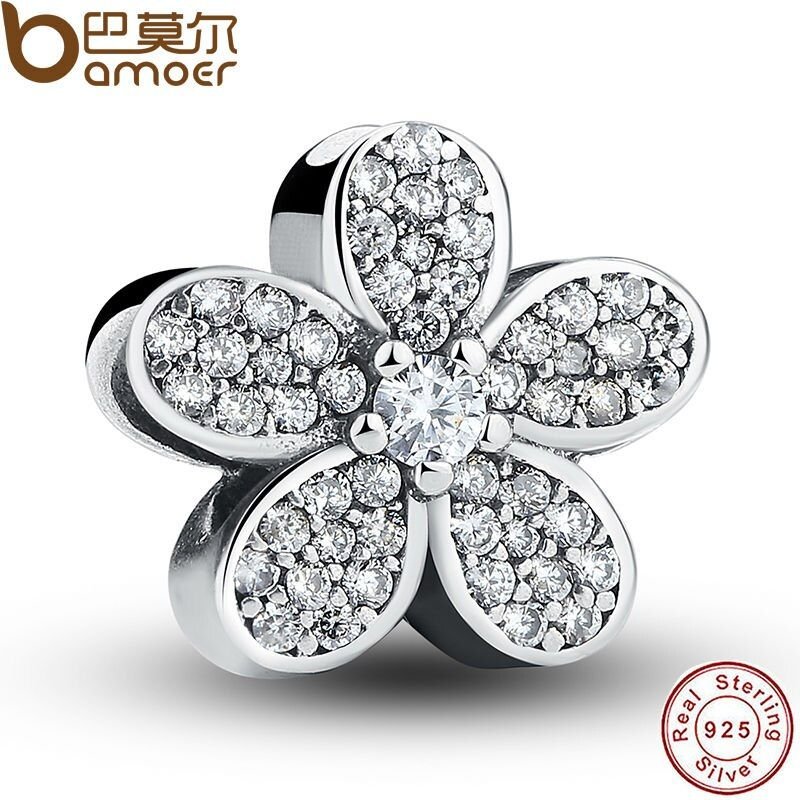 925 Sterling Silver Dazzling Daisy Plant Charm Fit Bracelet With Clear Cubic Zirconia DIY Accessories Jewelry PAS068