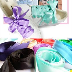 Nouveau 22 Couleur 2 cm Largeur Satin Soie Ruban Lacets 80/100/120/140/160 cm longueur Sneaker Sport Chaussures Dentelle Drop Shipping