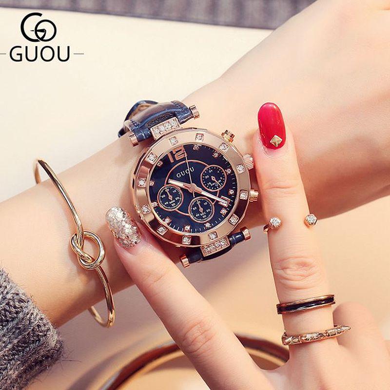 GUOU Women's Watches Diamond Ladies Watch Women Watches Bracelets For Women Montre Femme Calendar Clock Leather saat