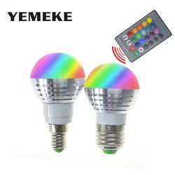 RGB LED Lampu Lampu E27 E14 AC85-265V 3 W LED RGB Spot Blubs Cahaya Sihir Liburan RGB pencahayaan + IR Remote Control 16 warna