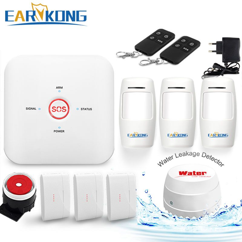 Wifi GSM Alarm System Home Burglar Alarm System 433MHz Wireless Sensor Alarms One Key Button Urgent SOS Help Android IOS APP