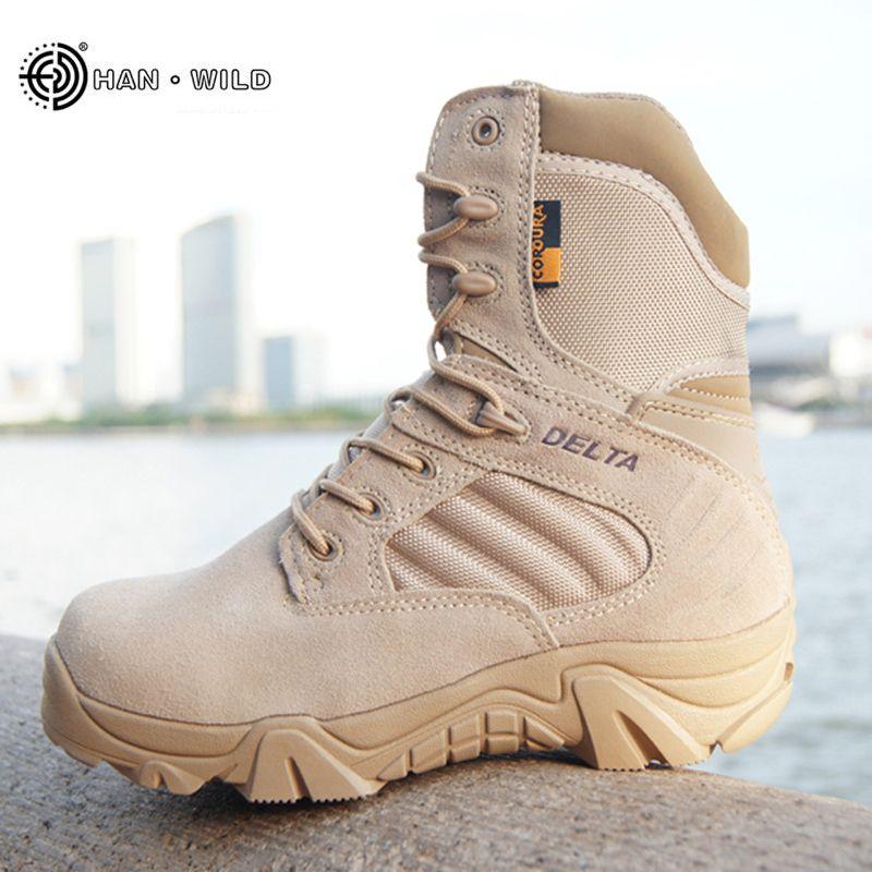 Hiver automne hommes bottes militaires qualité Force spéciale tactique désert Combat cheville bateaux armée travail chaussures en cuir bottes de neige