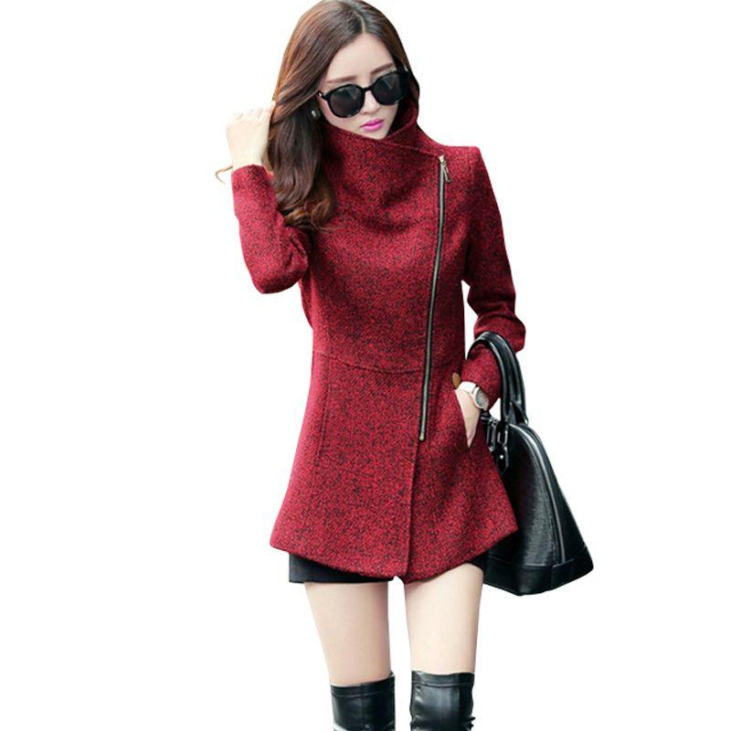 New Europe 2019 Autumn Winter Women's Temperament Woolen Jackets Coats Female Casual Clothing Fashion Women Slim Jackets Coats