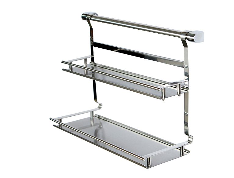 Rack de stockage de cuisine en acier inoxydable plateau salle de bains plateau à double couche étagère rack pot à épices rack double couche plateau