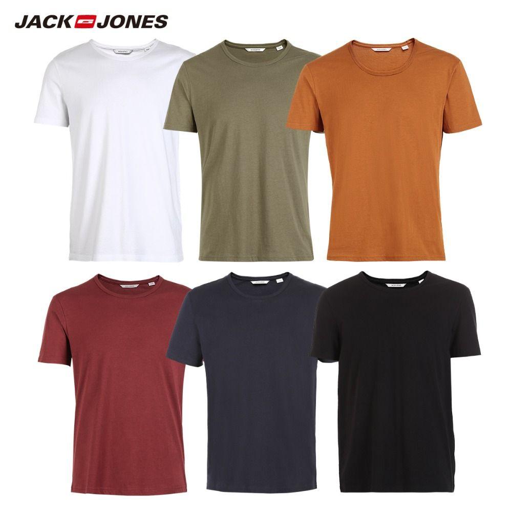 JackJones Men's Cotton T-shirt Solid Colors t shirt Top Fashion tshirt More Colors 3XL 2019 Brand New Shirt Menswear 2181T4517