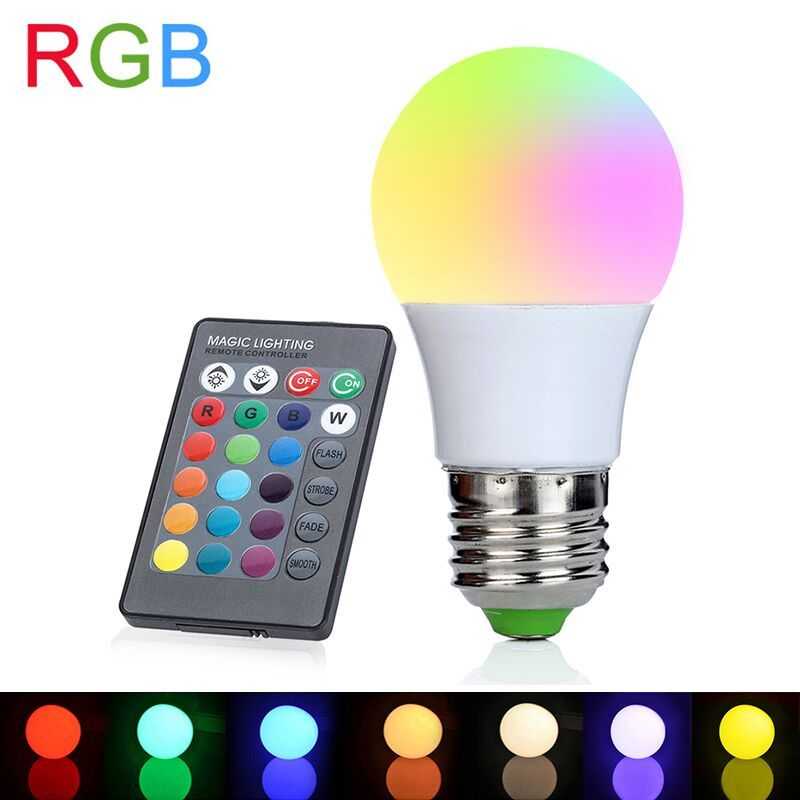 3 Вт LED RGB света E27 RGB LED лампа 110 В 220 В светодиодные лампы высокой Мощность лампада Светодиодные лампы 16 цвета изменяемой с ИК-пульта дистанцио...
