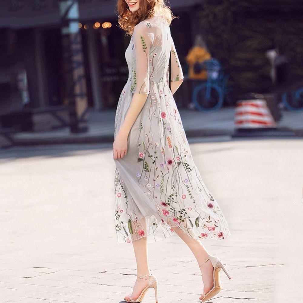 2019 bohème femmes robes magnifique demi manches robe pure maille élégante broderie soirée robes Vestidos