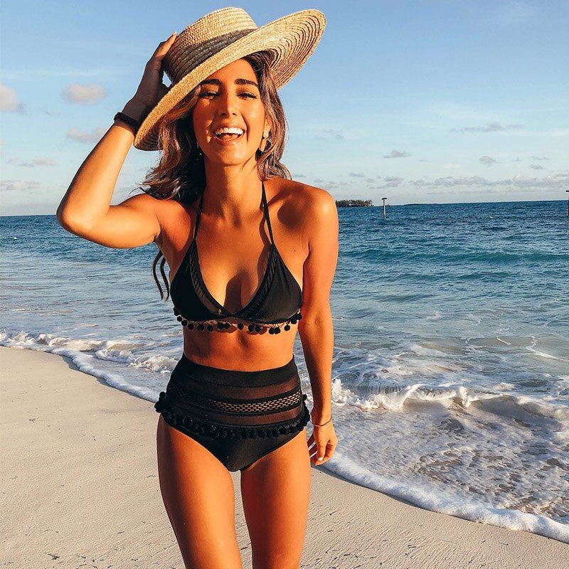 High Waist Bikini <font><b>2018</b></font> Sexy Lace Side Swimwear Women Swimsuit Push Up Beachwear Bathing Suit Brazilian Bikini Set Biquini Female