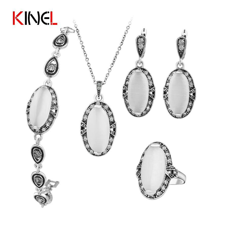 KineL Marca Vintage Opal Joyería de la Boda Chapado Plata Antigua 4 Unids/set Anillo/Collar/Pulsera Y Pendientes Para Regalo de las mujeres