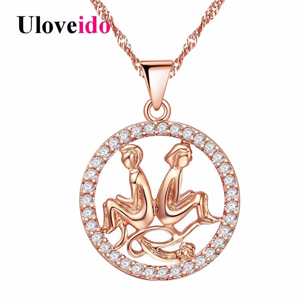 Uloveido Rose Gold Color Necklaces & Pendants Aquarius Aries Pisces Pendant Sagittarius 12 Constellations Necklace 5% Off N1047