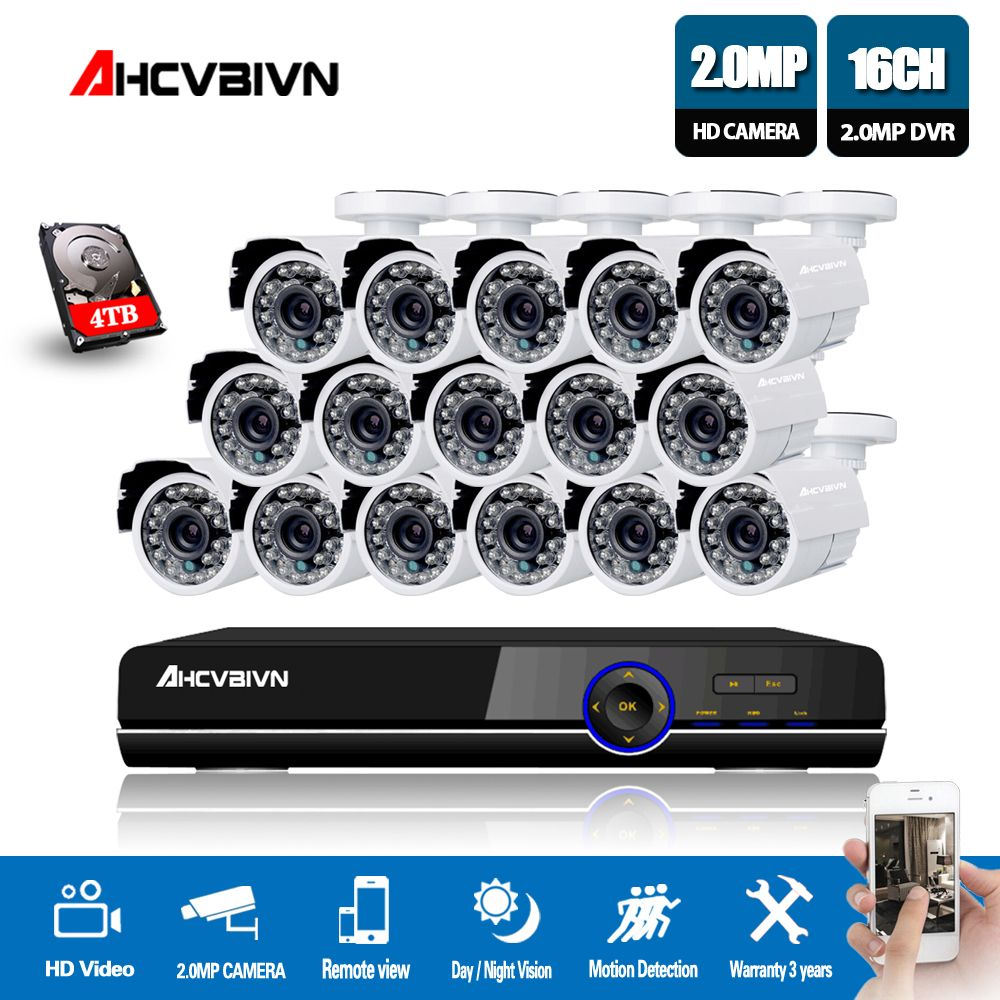 16CH 1080P 720P 960H DVR Recorder Outdoor Camera Security System Kit 16pcs 2.0MP IR Weatherproof CCTV Cameras 16 Channel DVR Kit