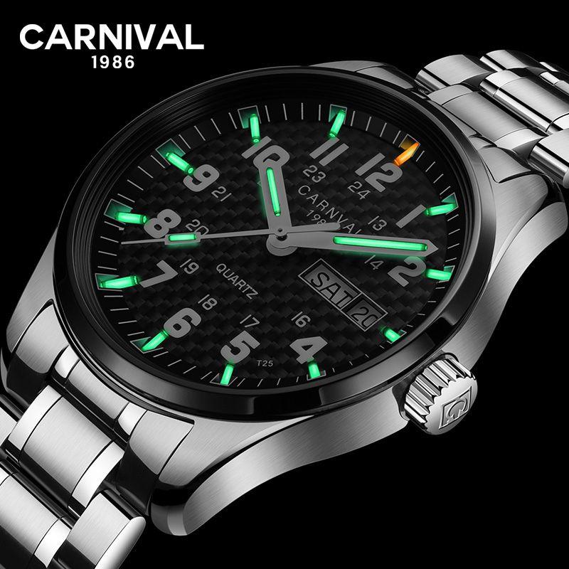 Karneval T25 Tritium Gas Leucht Quarzuhr Männer Mode Voller Stahl 30 mt Wasserdichte Uhren Herren Uhr Casual Armbanduhren saat
